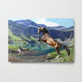 Horse and Lake Metal Print