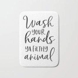 BATHROOM WALL DECOR, Wash Your Hands Ya Filthy Animal,Funny Print,Bathroom Sign,Shower Decor Bath Mat