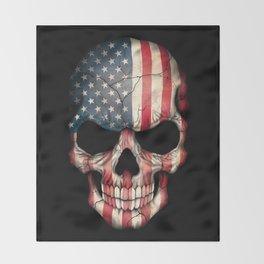 American Flag Skull on Black Throw Blanket