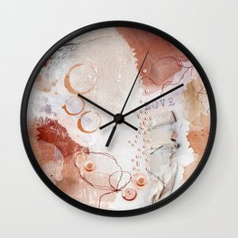 Abstract - Circulating - Richly Textured Design in Vermillion and Rust Color Wall Clock