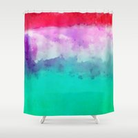 hawaiian Shower Curtains featuring Hawaiian Sunset by Pamela Kummerle