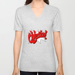 ACE ATTORNEY PHOENIX WRIGHT: OBJECTION! Unisex V-Neck