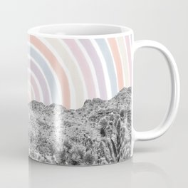 Happy Rainbow Rays // Scenic Desert Cactus Hill Landscape Watercolor Collage Dorm Room Decor Coffee Mug