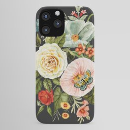 Wildflower and Butterflies Bouquet on Charcoal Black iPhone Case