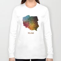 poland Long Sleeve T-shirts featuring Poland map  by jbjart