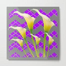 Grey & Purple Calla Lilies Art Metal Print