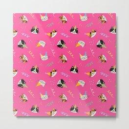 Cat Purr-tay! // Hot Pink Metal Print