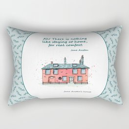 Jane Austen house and quote Rectangular Pillow