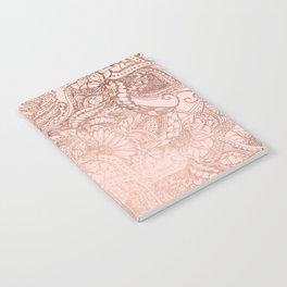 Modern rose gold floral illustration on blush pink Notebook