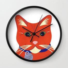 Cute Ginger Cat Wall Clock