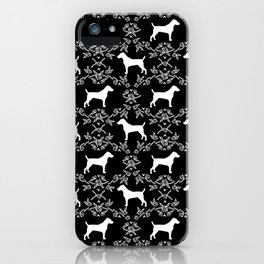 Jack Russell Terrier floral silhouette dog breed pet pattern silhouettes dog gifts black and white iPhone Case