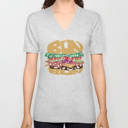 Word Drawing Burger Unisex V-Neck