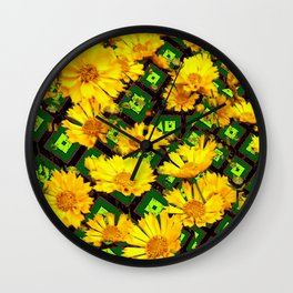 Golden Yellow Coreopsis Flowers Green-black Patterns Wall Clock