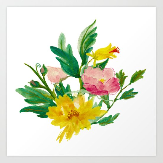 Watercolor Bouquet of Yellow and Purple Peonies Art Print