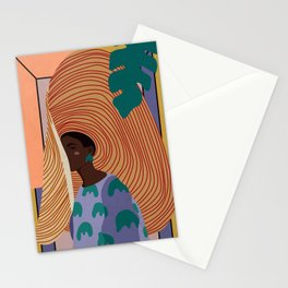 Woman in hat - summer hide Stationery Cards