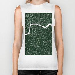 Green on White London Street Map Biker Tank
