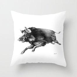 Running Boar Throw Pillow