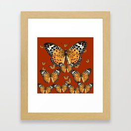 DECORATIVE BROWN COLOR ART & FLYING  BUTTERFLIES Framed Art Print