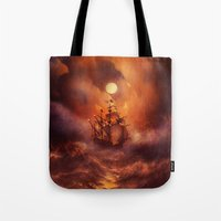 storm Tote Bags featuring Perfect storm. by Viviana Gonzalez