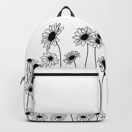 Minimal line drawing of daisy flowers Backpack