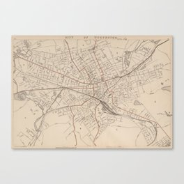 Vintage Map of Worcester MA (1891) Canvas Print