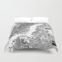 new york map Duvet Covers featuring New York Map by Maps Factory