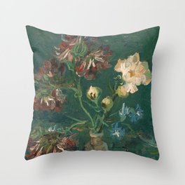 Peonies and Blue Delphiniums by Vincent van Gogh Throw Pillow