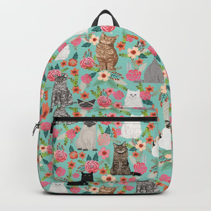 Cats floral mixed breed cat art cute gifts for cat ladies cat lovers pet art Rucksack