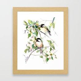 Chickadees and Dogwood Flowers Framed Art Print