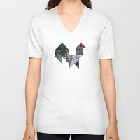 rooster V-neck T-shirts featuring ROOSTER by TANGRAMMAR