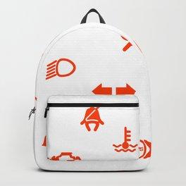Vehicle Dash Warning Symbols Backpack