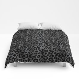 Gray and Black Exotic Leopard Animal Pattern Comforters
