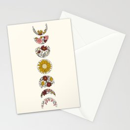 Floral Phases of the Moon Stationery Cards