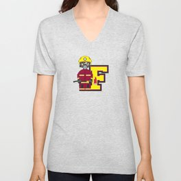F is for Fireman Illustration Unisex V-Neck