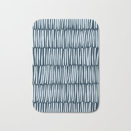 Inspired by Nature | Organic Line Texture Dark Blue Elegant Minimal Simple Bath Mat