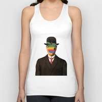 magritte Tank Tops featuring Son of Apple Parody René Magritte by eatpersonality