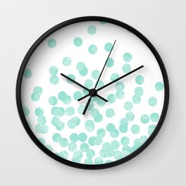Scattered Glitter Dots in mint, green, pistachio, cool girly cute colors for trendy cell phone case Wall Clock