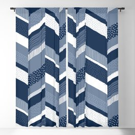 Chevron with Textures / Denim Blue and White Blackout Curtain