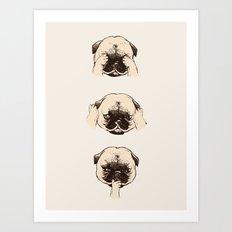 No Evil Pug Art Print