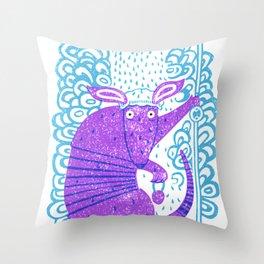 Armadillo shower time Throw Pillow