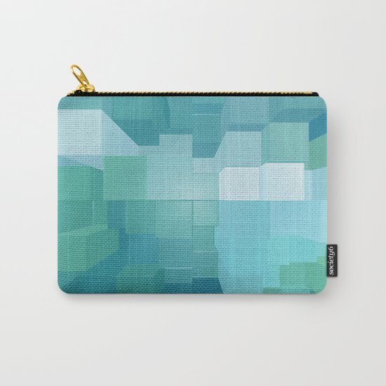 Blue and Green 3D Carry-All Pouch