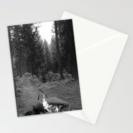 Backpacking Camp Fire B&W Stationery Cards