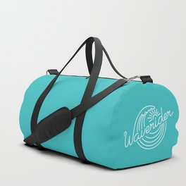 Waverider - white on teal Duffle Bag