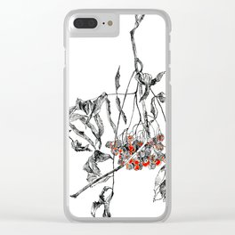 rowan branch with dried leaves and berries Clear iPhone Case