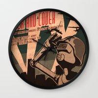 propaganda Wall Clocks featuring Propaganda Series 2 by Alex.Raveland...robot.design.digital.art