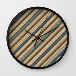 Indigo Orange Sky Blue Inclined Stripe Wall Clock