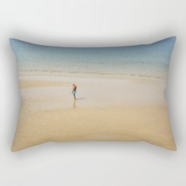 A Man on La Concha Beach in San Sebastian, Spain Rectangular Pillow