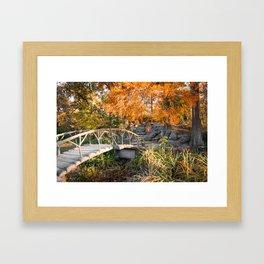 Autumn Light Woodward Park Bridge - Tulsa Oklahoma Framed Art Print