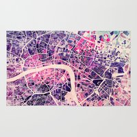 london Area & Throw Rugs featuring London Mosaic Map #2 by Map Map Maps