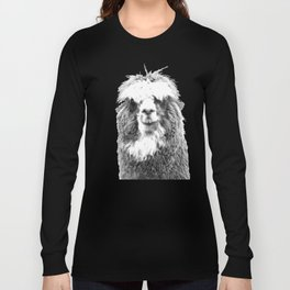 Black and White Alpaca Long Sleeve T-shirt
